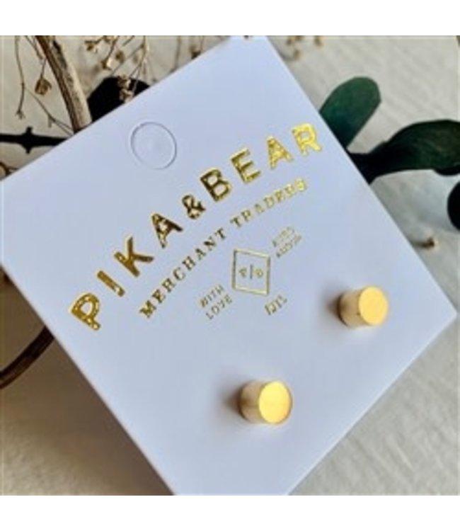 Pika & Bear Cylin Minimalistic Stud Gold Earrings