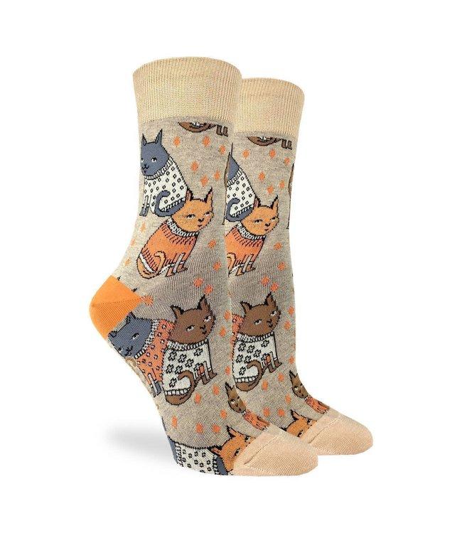Good Luck Sock Women's Sweater Cats Size 5-9