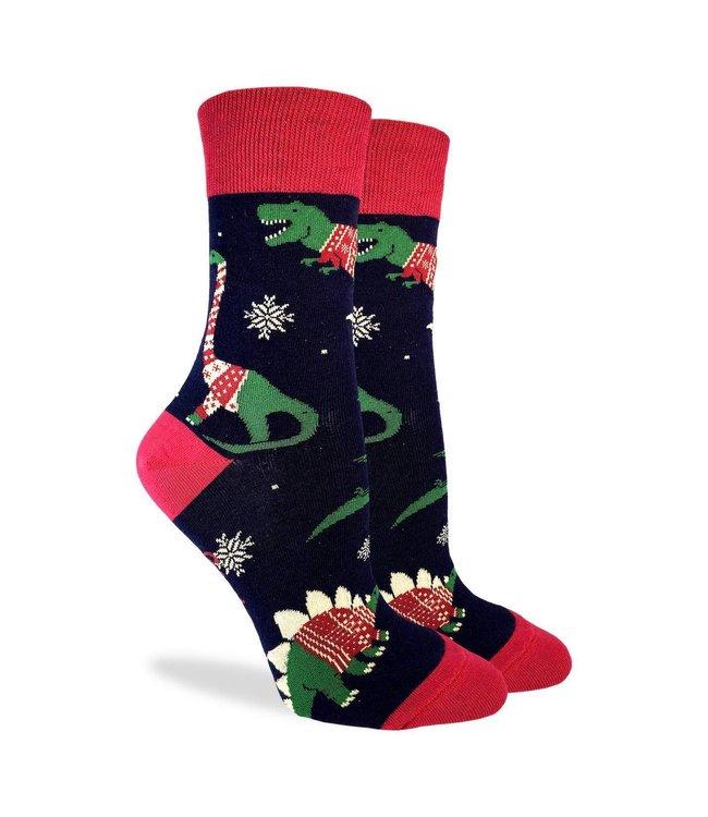 Good Luck Socks Women's Christmas Sweater Dino Socks Size 5-9