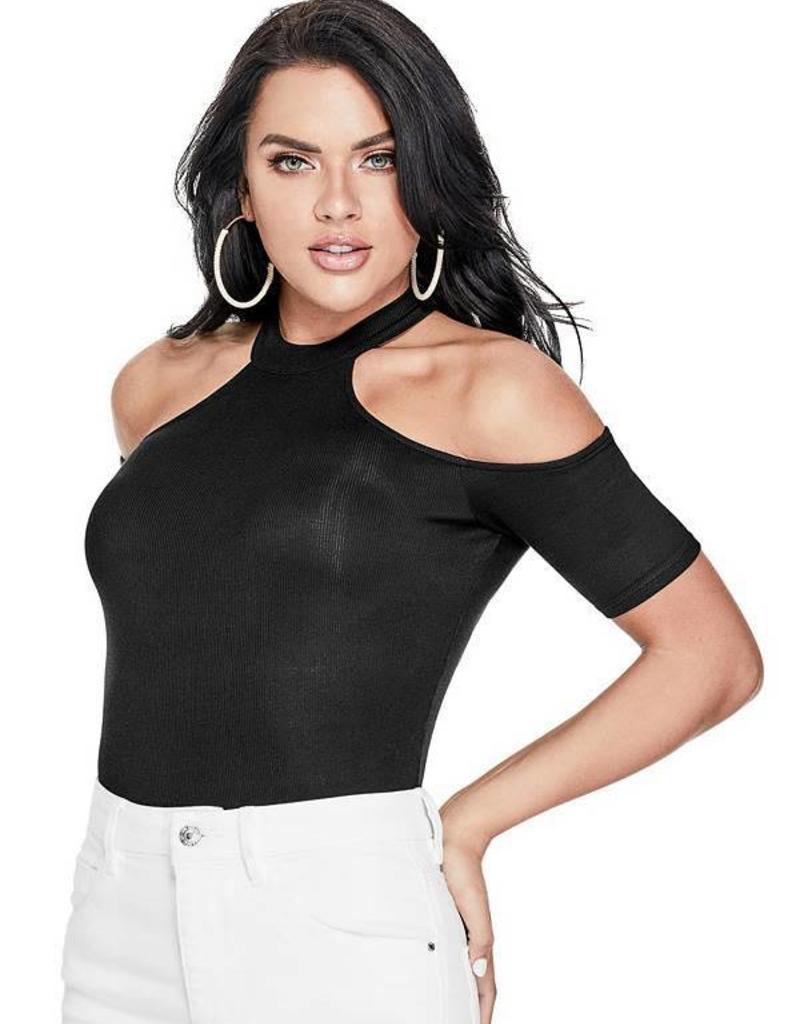 bd5ed9d407fb0 Guess Womens Ebony Cold-Shoulder Top - 42nd Street Clothing