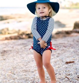 Ruffle Butts Navy Polka Dot One Piece