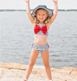 Ruffle Butts Navy Stripe Bow Bikini