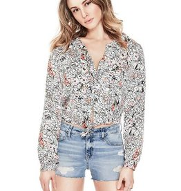Guess Guess Womens Simona Tie Front Top