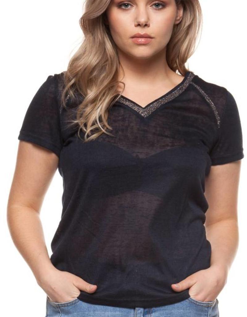 c0863089c9e Dex Plus V-Neck Blouse W Contrast Trim - 42nd Street Clothing