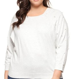 DEX Dex Plus Boat Neck Pearl Embellishment Sweater