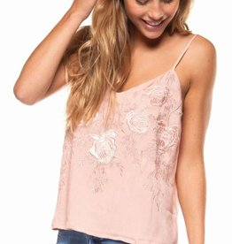 DEX Dex V-Neck Cami W/Embroidered Velvet Design