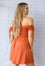 The Sweet Caroline Dress in Rust