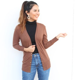The Perfect Light Cardigan Dark Coffee