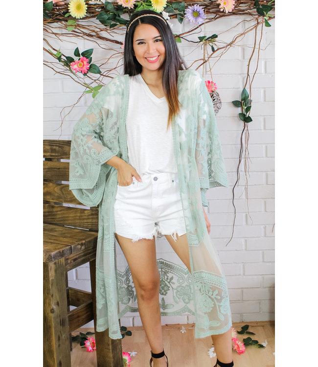 Cherish The Sun Kimono (in Sage)