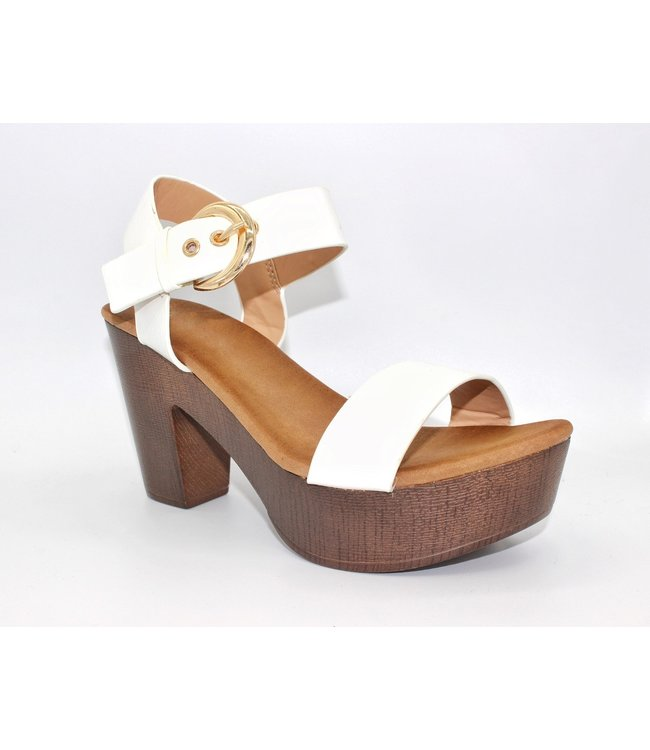 The Isabel Block Heel (in White)
