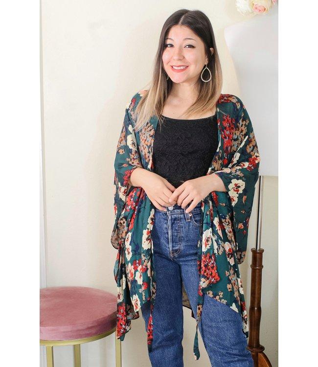 Blushing Blooms Kimono