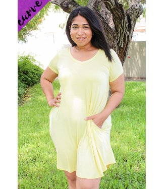 Cute & Comfy T-Shirt Dress (in Lemon)