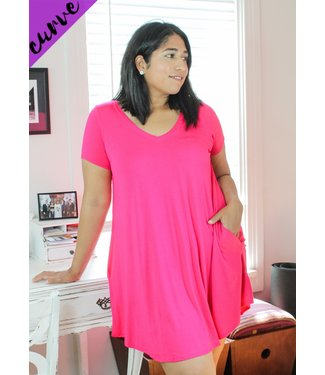 Cute & Comfy T-Shirt Dress (in Fuchsia)