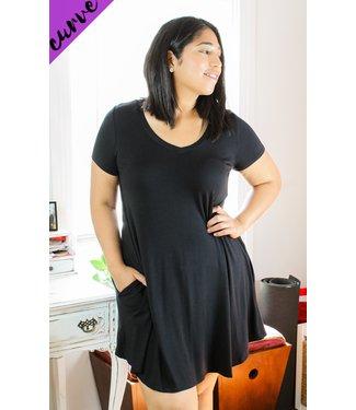 Cute & Comfy T-Shirt Dress (in Black)