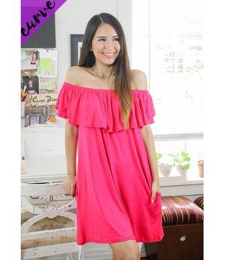 Staycay Mode T-Shirt Dress (in Fuchsia)