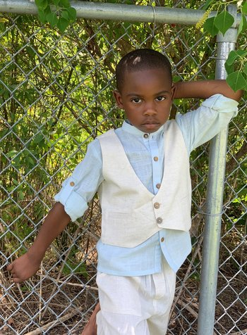 Yo Baby Linen Vest/Pant Set