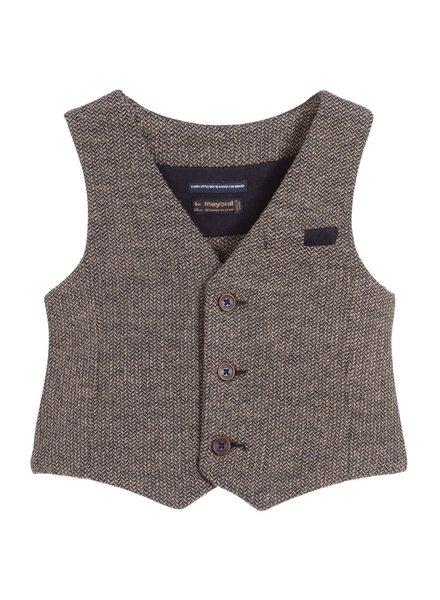 Mayoral Beige Herringbone Dressy Vest