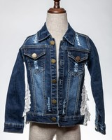 M.L. Kids Denim Lace Ruffle Jacket