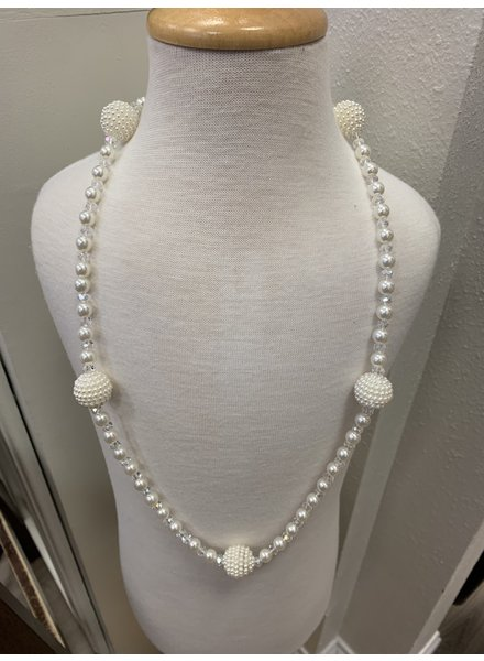 M.L. Kids White Pearl W/ Bead Balls Necklace