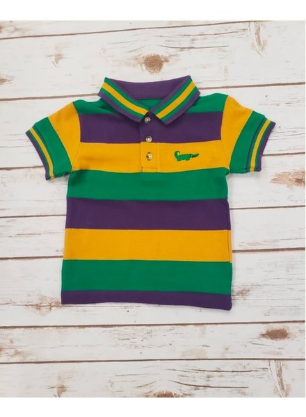 Me Me Mardi Gras Multi Stripe S/S Shirt Traditional Unisex