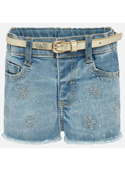 Mayoral Denim Shorts w/ Gold Embroidered Flowers & Dots S20
