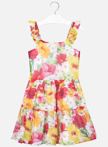Mayoral Gauze Floral Printed Dress
