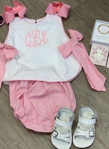Laly Bib Top w/ Bloomer ~ Pink Gingham