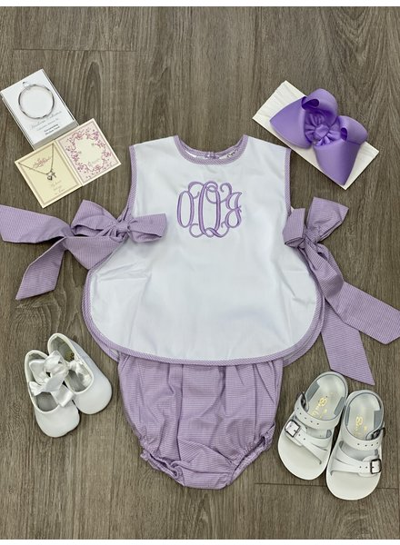 Laly Bib Top w/ Bloomer Lavender Gingham