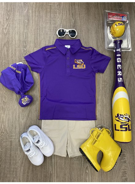 College Cool LSU Dry Fit Polo Shirt ~ Purple