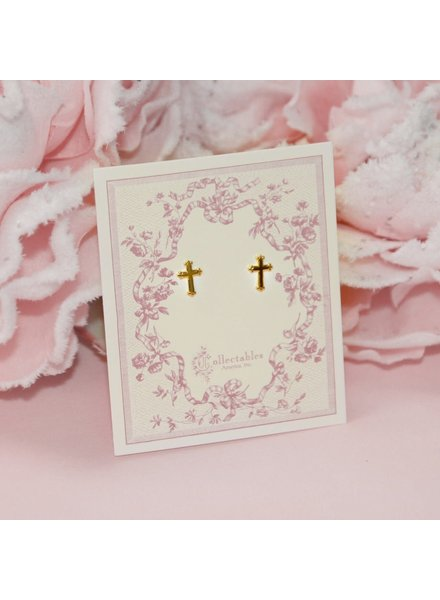 Collectables America Cross Earrings ~ Rhodium Gold