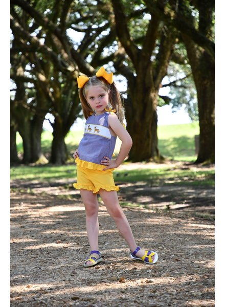 Krewe Smocked LSU Girls Short Set