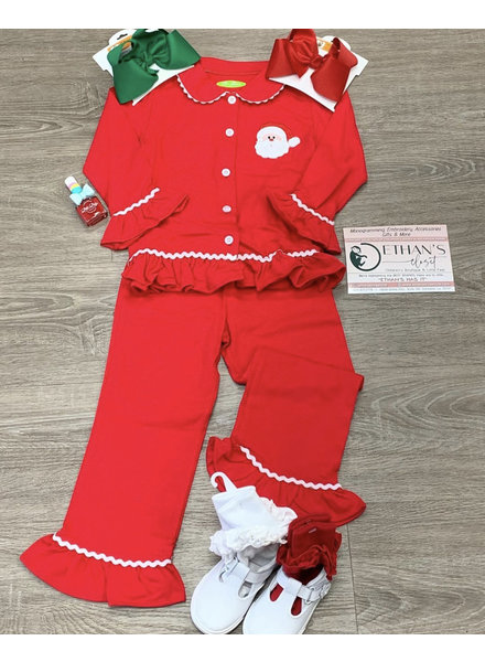 Be Mine Applique Santa Button Up Set L/S Girl~ Red