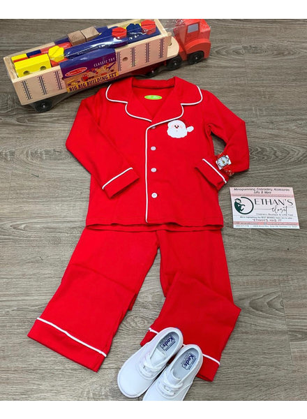 Be Mine Applique Santa Set Boys ~ Red
