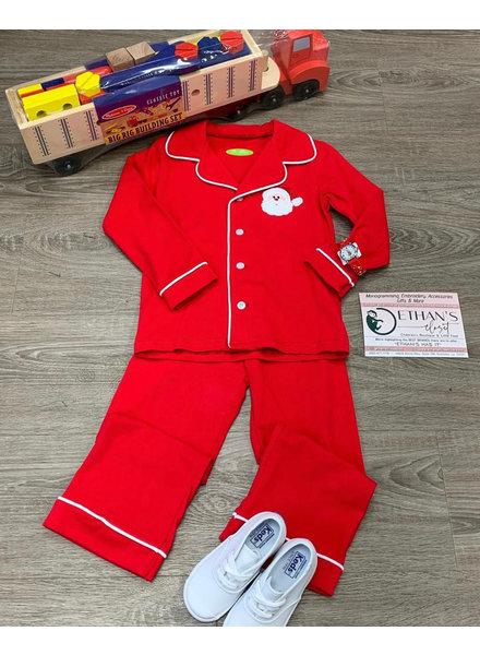 Be Mine Applique Santa Button Up Set L/S Boys~ Red