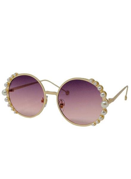 Round Rim w/ Pearl Sunglasses ~ Gold