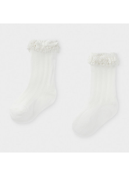 Mayoral White Tall Ruffle Socks