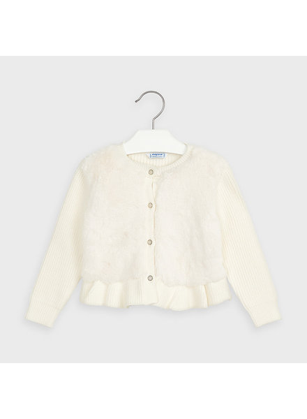 Mayoral 4353 Furry Knit Sweater ~ Ivory F20