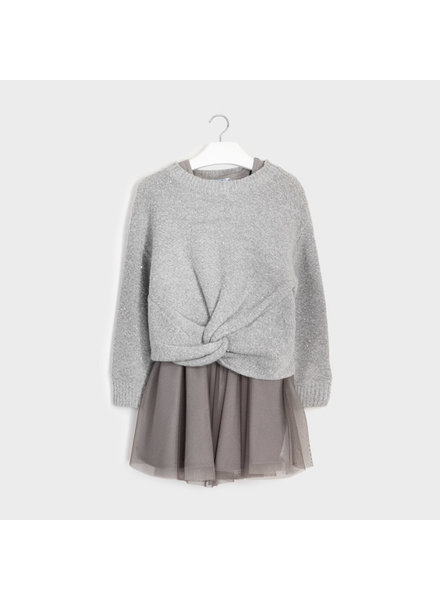 Mayoral Combined Knit Dress Grey