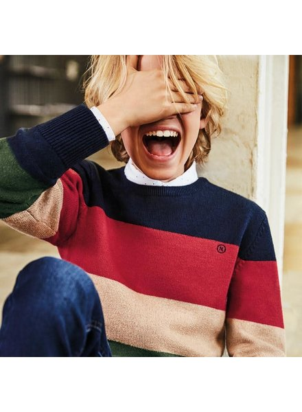 Mayoral Stripes Sweater ~ Navy/Red/Tan/Olive