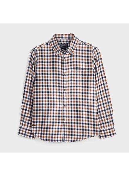 Mayoral Plaid Long Sleeve Shirt {Black/Gold}