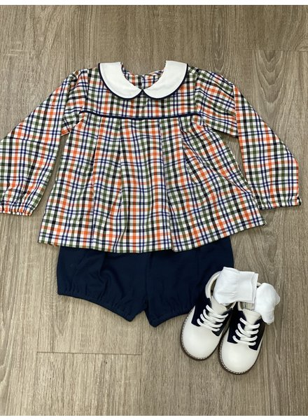 Navy Plaid Juniper Boy Short Set