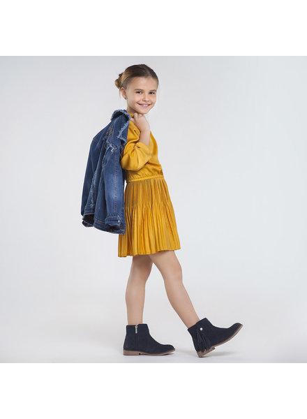 Mayoral Satin Dress ~ Mustard