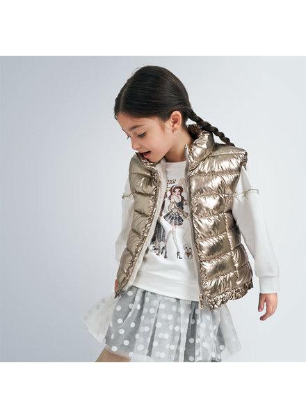 Mayoral Reversible Puffer Vest w/ Fur ~ Old Gold/Ivory Fur F20
