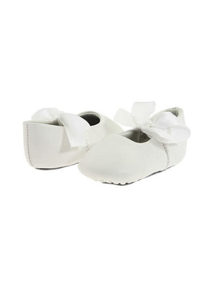 Sabrina Leather Ballet Flats - Crib {White}