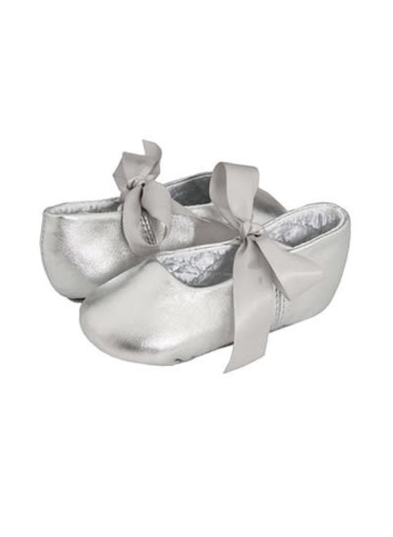 Sabrina Leather Ballet Flats - Crib {Silver}