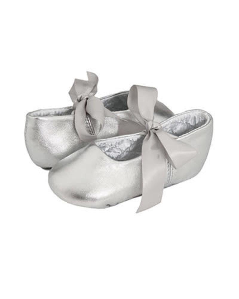 Sabrina Leather Ballet Flats - Crib {Silver}