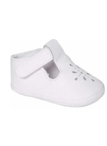 Baby Deer Kennedy Leather H&L T-Strap w/ Perf {White}
