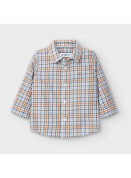 Mayoral L/S Checkered Shirt {Olive/Orange}