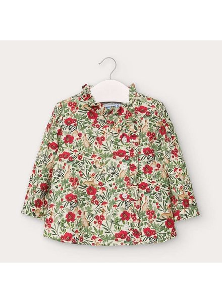Mayoral Floral Printed Blouse {Red/Grn Fawns & Rabbits}