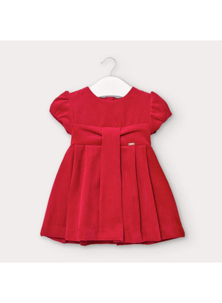 Mayoral Corduroy Pleated Dress {Red}